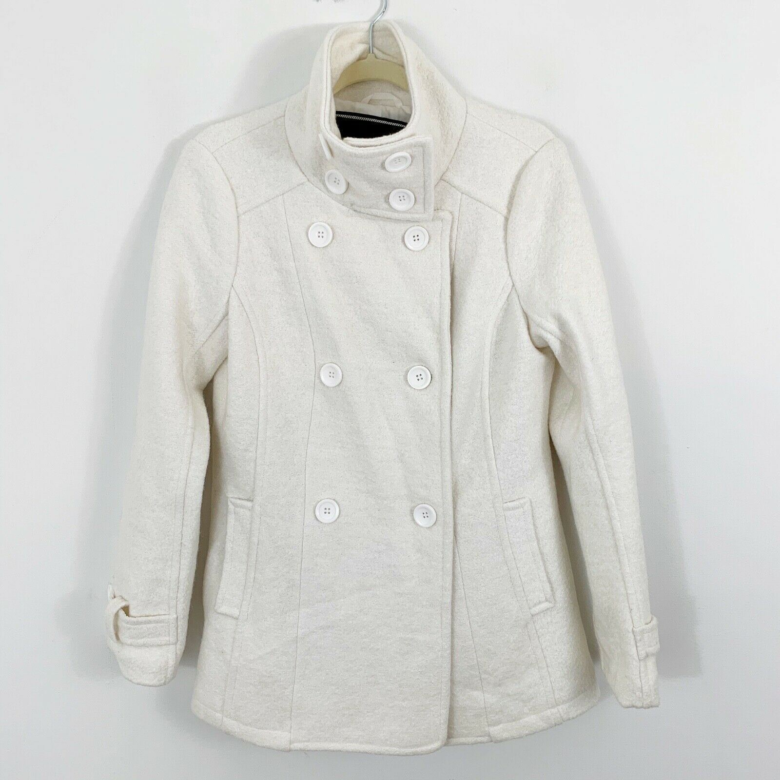 BNCI Blanc Noir Womens Medium Winter White Wool Blend Textured Pea Coat Jacket