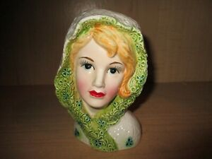 Vintage-Lefton-5920-Lady-Teen-Girl-Head-Vase-Blonde-Green-White-Lace-Head-Cape