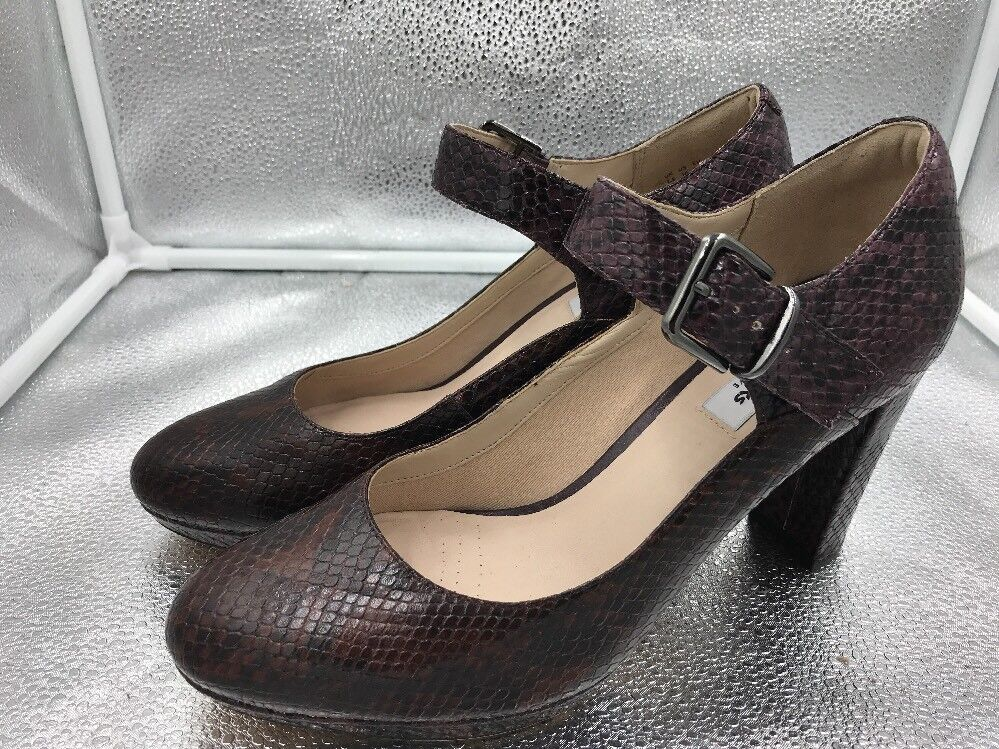 Clarks Narrative Sz 7.5 41.5 Brown Leather Kendra Gaby Mary Jane shoes