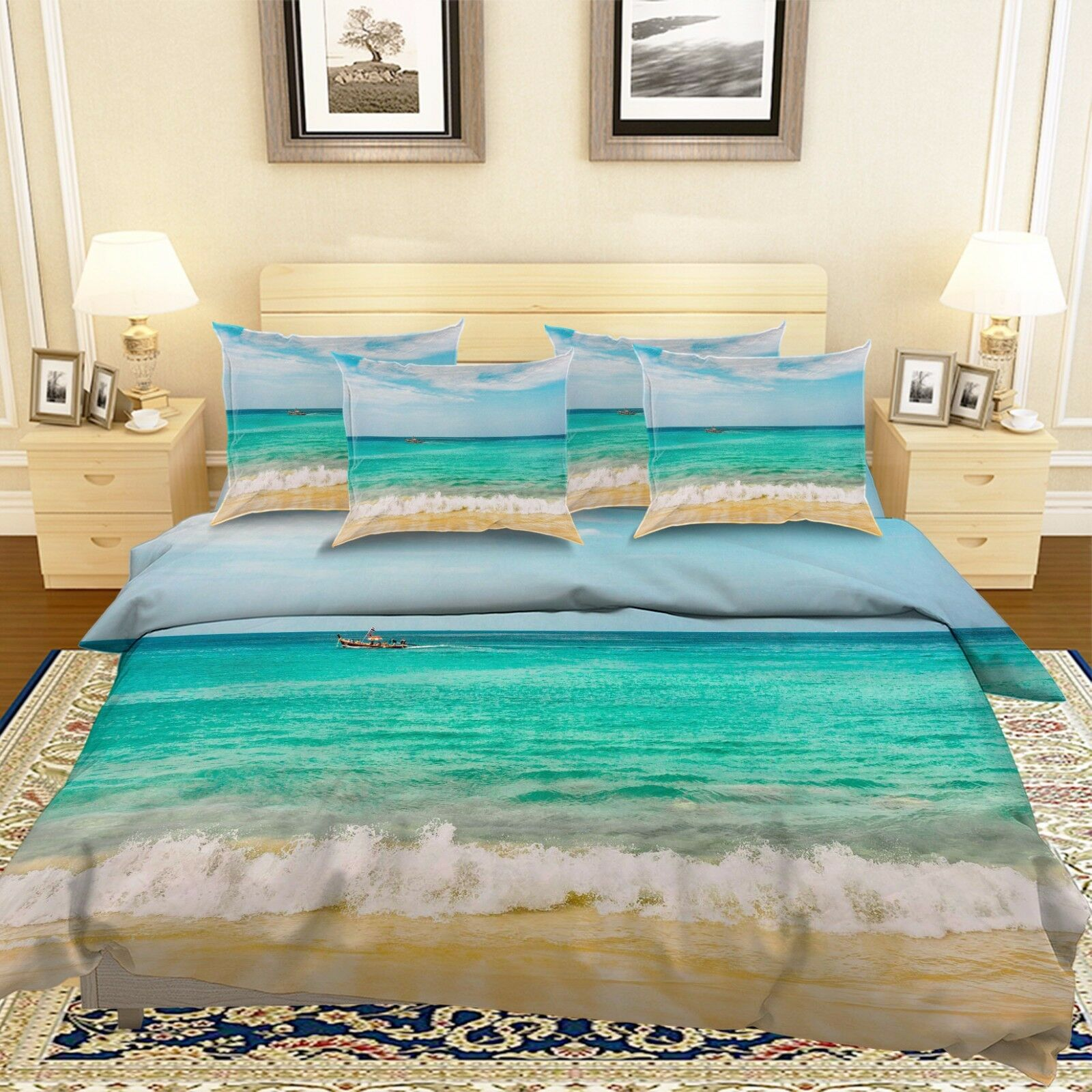 3D Boat Sea Beach 75 Bed Pillowcases Quilt Duvet Cover Set Single Queen AU Lemon
