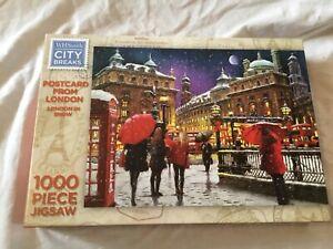 WHSmith-City-breaks-1000-Piece-Jigsaw-Puzzle-Carte-postale-de-Londres-dans-la-neige