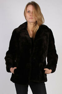 Giacca da pelliccia Busto Pelz donna 42 in nero C921 vintage vera Echt rraxqwdf