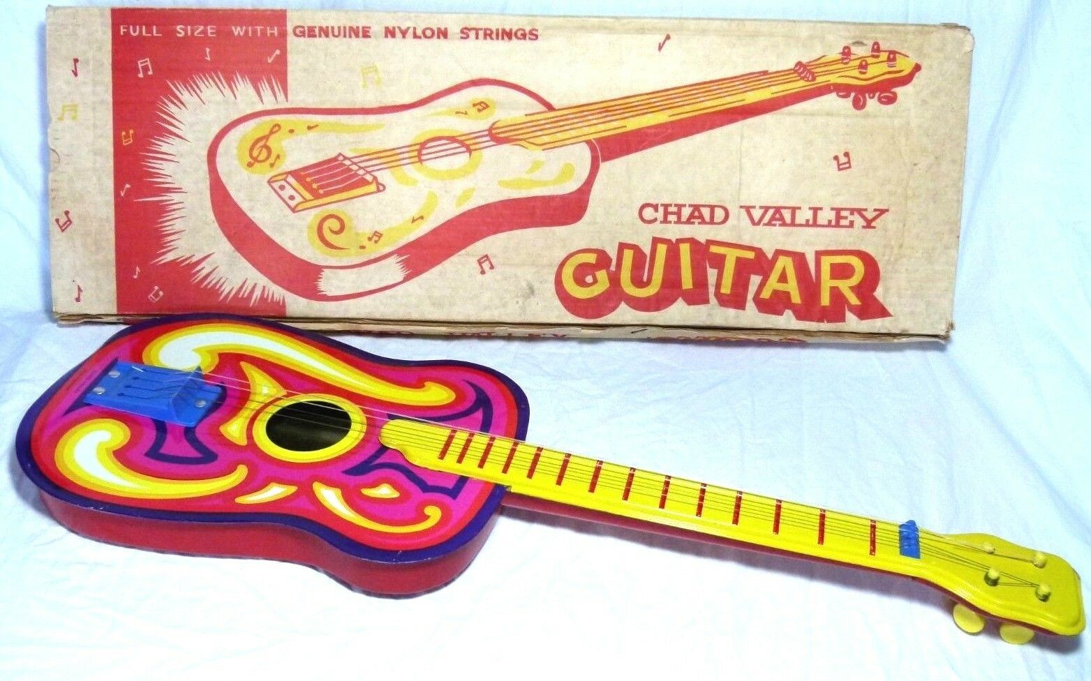 RARE PSYCHEDELIC BOXED CHAD VALLEY TOYS ENGLAND TIN PLATE TOY GUITAR
