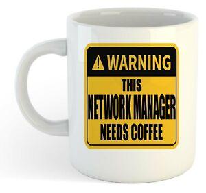 Warning-Esta-Network-Director-Necesita-Cafe-Blanco-Taza-Regalo-Trabajo-Regalo