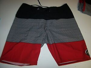 Details about NEW VOLCOM boardshorts board shorts swimsuit swim red black  white stretch 28