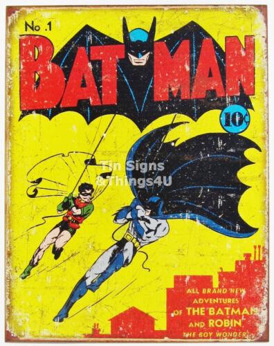 No.1 Batman and Robin Retro Vtg DC Comic Book Cover TIN SIGN metal poster #1966