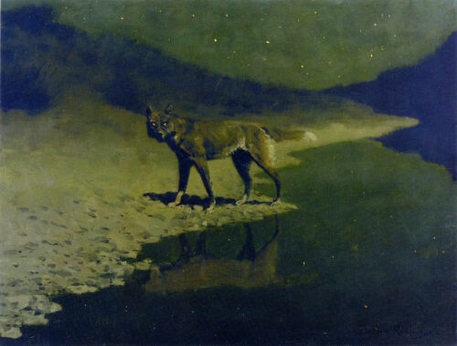 Moonlight Wolf  by Frederic Remington   Giclee Canvas Print Repro