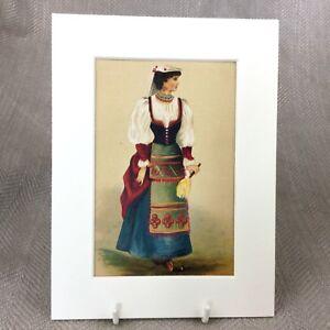Antico-Vittoriano-Stampa-Moda-Costume-Italiano-Tradizionale-Decorato-Abito-Folk