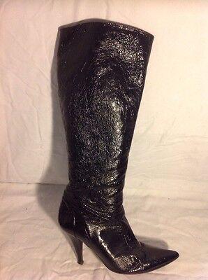 Duna Negro Knee High Cuero Botas Talla 38