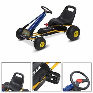 HOMCOM-Go-Kart-Coche-de-Pedales-para-Ninos-3-8-Ano-Freno-96x68x56cm-Marco-Acero