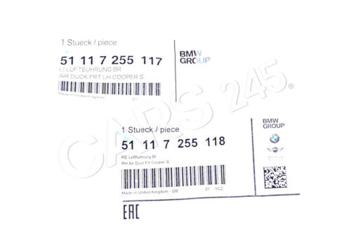 Genuine MINI R55 R56 R57 R58 R59 JCW S FRONT AIR DUCT FRAME BLACK PAIR SET