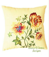 Priscilla Embroidered Pillow : Cottage Floral Linen Yellow Accent Toss Cushion