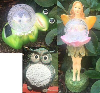 Frog Glass Ball and Angel Glass Ball Statue Garden Decor Light 3 pcs Solar Owl