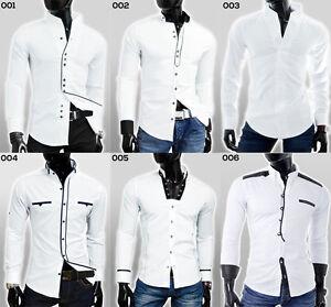 S Formal Shirts Designs   Designer Mens Casual Formal Grandad Collar Shirt Slim Fit White S