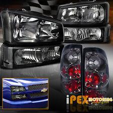 [BLACK] 2003-2006 Chevy Silverado 1500 2500 Headlights+Signal+[SMOKE] Tail Light