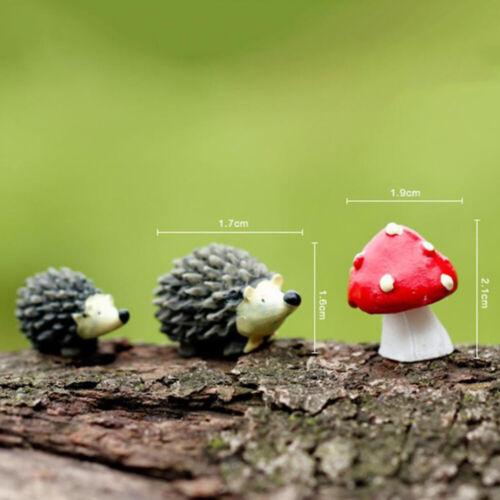 3Pc//Set Garden Moss Resin Crafts Artificial Mini Hedgehog Red Dot Mushroom