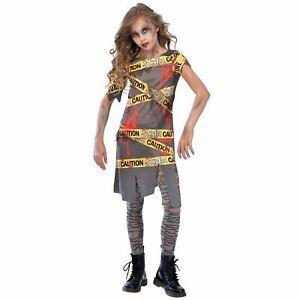 Halloween Zombie Costume.Girls Caution Zombie Costume Childs Halloween Fancy Dress Horror Kids Outfit Ebay