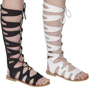17f75ee81a38 Image is loading Ladies-Womens-Knee-High-Gladiator-Sandals-Lace-Strappy-