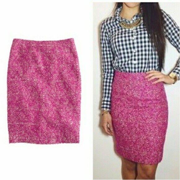 J. Crew Vibrand Fuchsia Lined Wool Blend Pencil Skirt Sz. 8