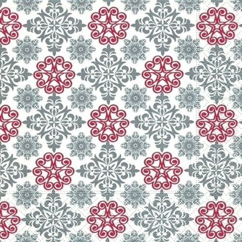4 x Single Paper Napkins//3 Ply//Decoupage//Christmas//Patterns in Silver and Red