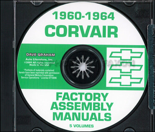 Chevy Corvair Car Assembly Manual Set on CD 1960 1961 1962 1963 1964 Factory