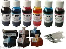HP 02 refillable Cartridges for C6280 D7200 D7360 C6180 with 6x100ml Refill Ink