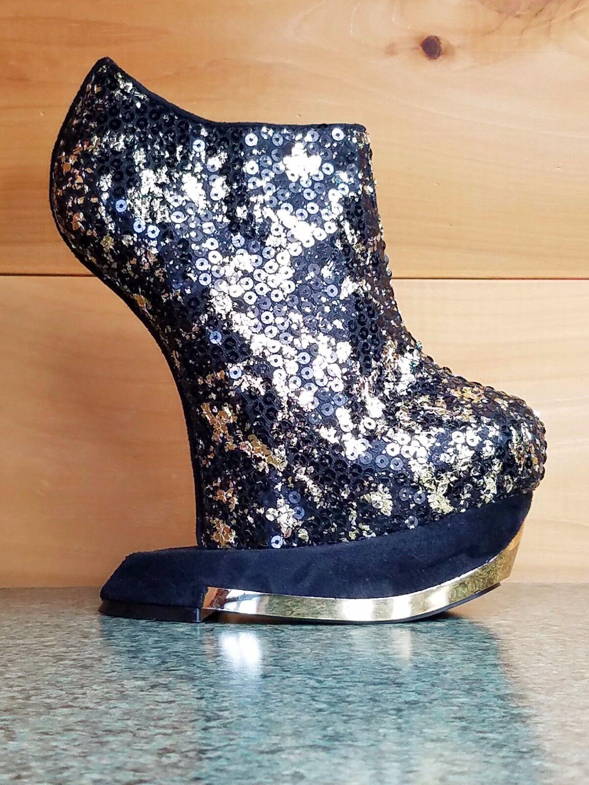 Privileged Terina gold & Black Heel Less Wedge Sequin Bootie Platform shoes
