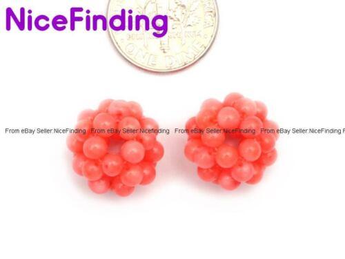 12mm all/'ingrosso rotonda Corallo Palla Pietra Perline per Gioielli Making Gemstone 2Pcs fai da te