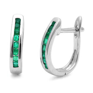 1.00Ct Green Emerald Hoop Earring Heavy White Gold