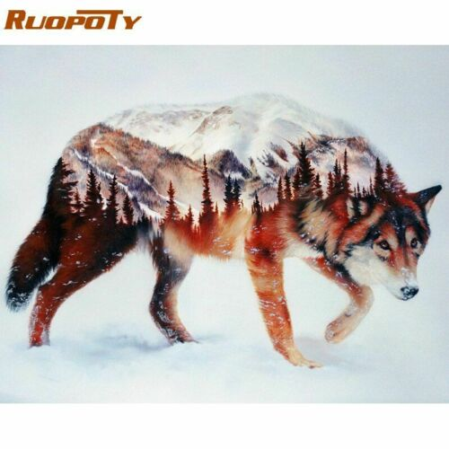 Wall Art Frame Wolf DIY Painting Numbers Calligraphy Acrylic Picture Home Decors