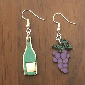 Teapot and Cup Mismatched Wooden Dangle Earrings
