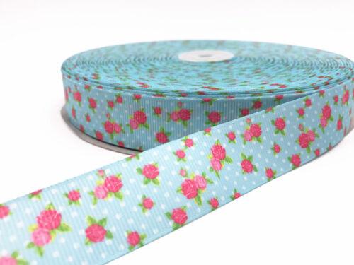 1-10 Yard 1/'/'25MM Little rose Printed Grosgrain Ribbon Hair Bow Sewing Ribbon