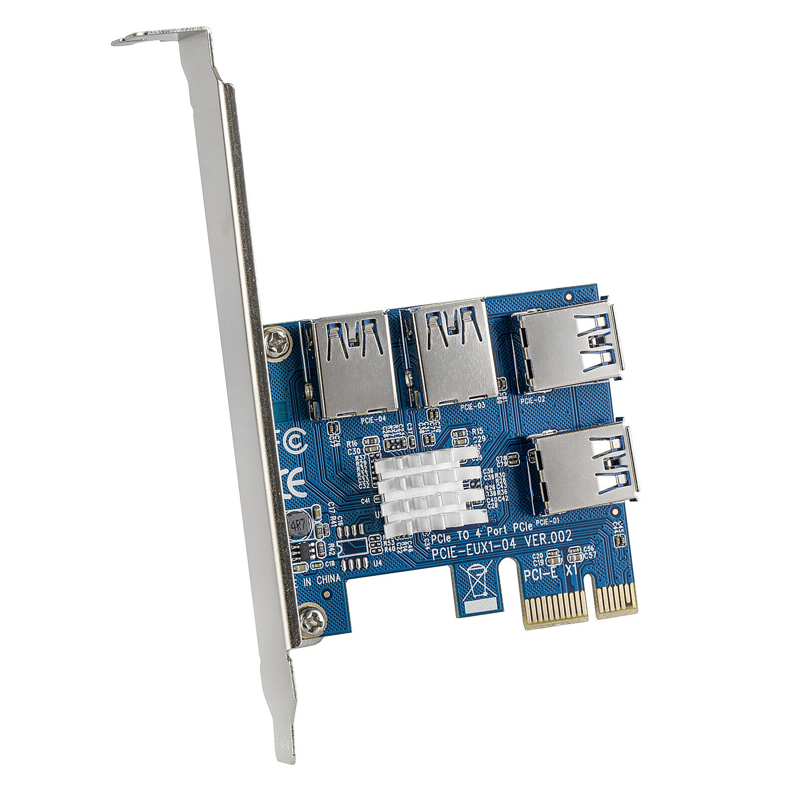 PCI-e to USB 3.0 Riser Card 4 Port Expander Adapter Bracket Coin Mining Board