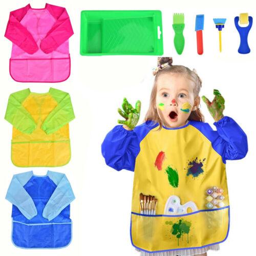 3tlg Kinder Wasserdicht Malschürze Malkittel Kunstkittel Kinderschürze+Werkzeug