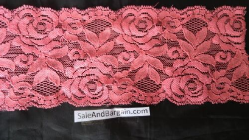 2 y white black pink fuchsia royal  neon coral stretch lace rose scalloped trim