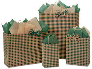 HUNTER-GINGHAM-Design-Print-Party-Gift-Bag-Only-Choose-Size-amp-Package-Amount