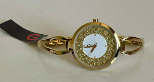 NEW-GUESS-CRYSTALS-amp-GLITTER-GLITZ-DIAL-GOLD-TONE-OPEN-BANGLE-BRACELET-WATCH-95