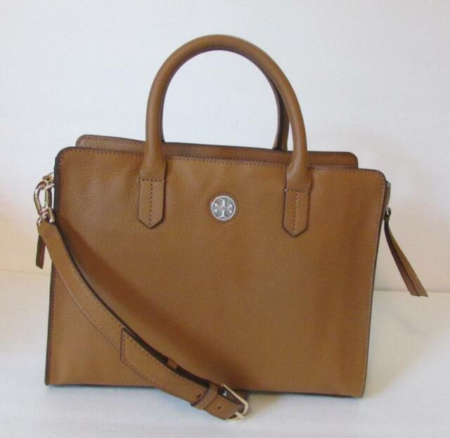 51d8dc6aeebe Tory Burch Brody Square Tote Bark leather crossbody bag satchel brown tan  strap