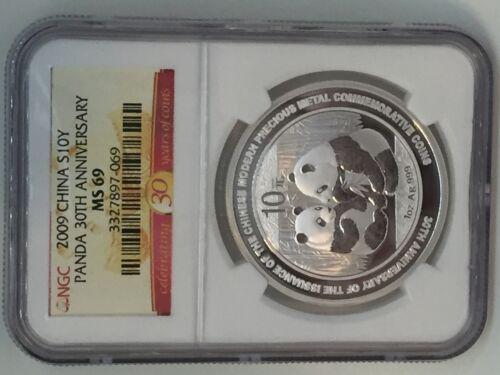 30th Anniversary Commemorative NGC MS69 2009 China Silver Panda 10 Yuan 1 oz