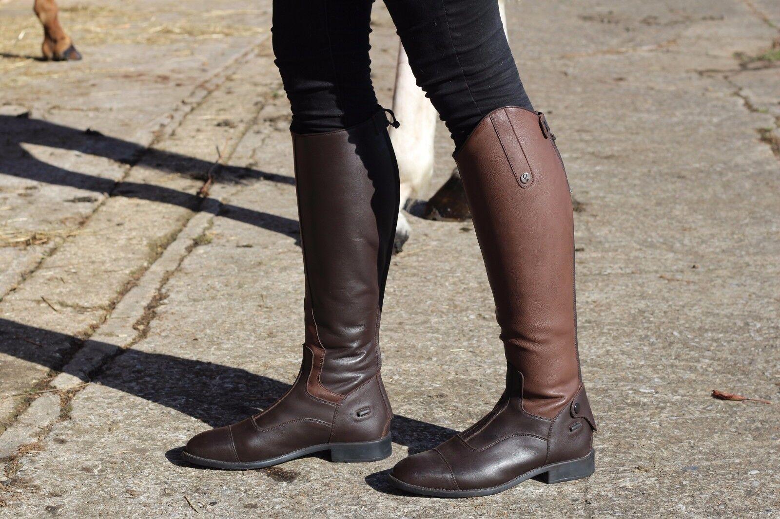Nuevas botas De Montar QHP Birgit Largo Resistente Con Eje Elástico para Adultos Negro Marrón