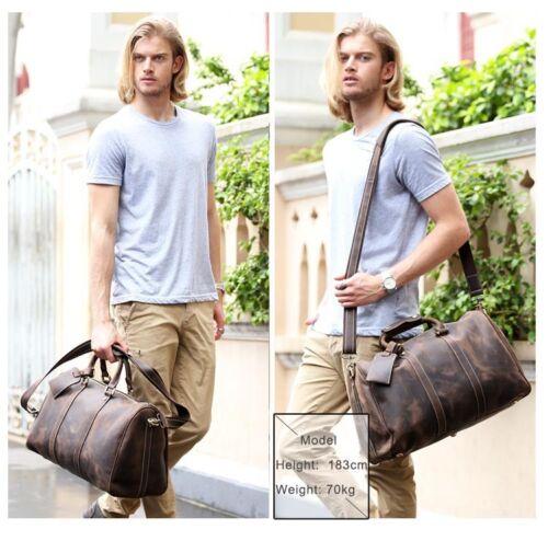 Mens Leather Travel Luggage Garment Duffle Gym Bags Messenger Shoulder Bag Tote