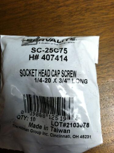 """SOCKET HEAD CAP SCREW 1//4-20 X 3//4/"""" BLACK OXIDE STEEL PACK OF 10"""