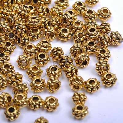 Tibetan Silver & Gold & Bronze, Tone Tiny, Charms Spacer Beads 4MM CW1028