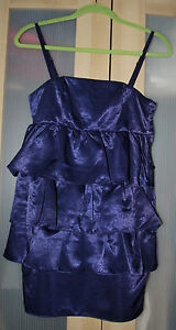 H-amp-M-Women-039-s-Dark-Blue-Satin-Tiered-Fitted-Spaghetti-Strap-Dress-Size-6-36-NWT