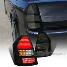 2005-2007 Chrysler 300C LED Bar Tail Lights Glossy Black Brake Lamp Smoke Lens