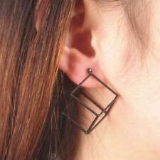Chic Lady 3D Hollow Cube Geometric Stylish Ear Studs Piercing Earrings SILVER