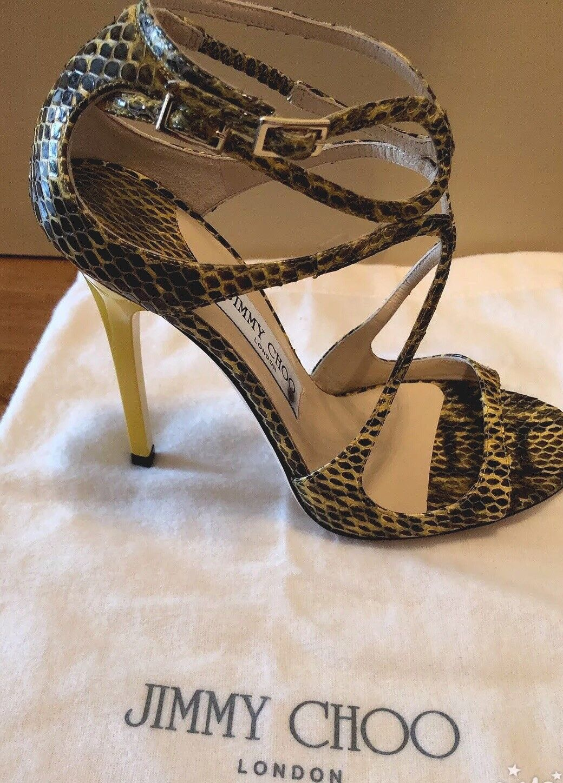 100% Authentic Jimmy Choo Lance Snakeskin Sandal  Uk Size 37 Yellow
