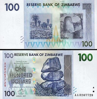 UNC Zimbabwe 100 Dollars 2007 P-69 Lot 10 PCS