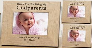 Details about PERSONALISED Wooden PHOTO Frame For GODPARENTS Godmother  Godfather Gift Ideas