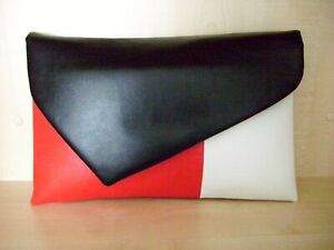clearance hot products good service Details about OVER SIZED black, white and red faux leather clutch bag,  lined BN .UK made